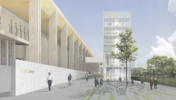 21f1ade5b Позади МДМ на его продленном стилобате и в пределах его участка будет  построен многоуровневый культурный центр. Это будет визуально легкая  вытянутая « ...